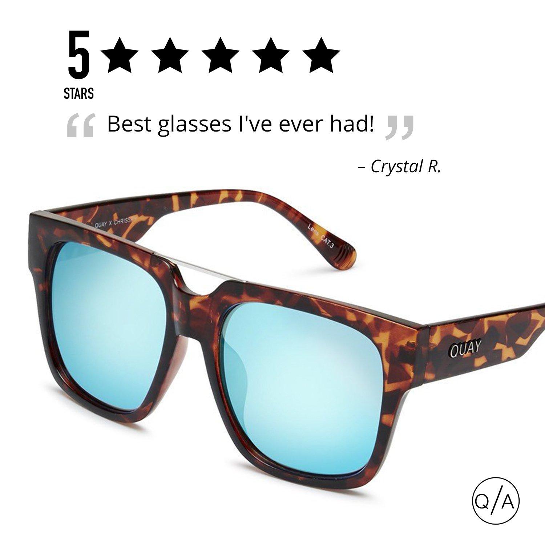 d9f2caedfb Amazon.com  QUAY AUSTRALIA Women s Mila QUAY x Chrisspy Tort Blue Mirror  Sunglasses  Quay  Clothing