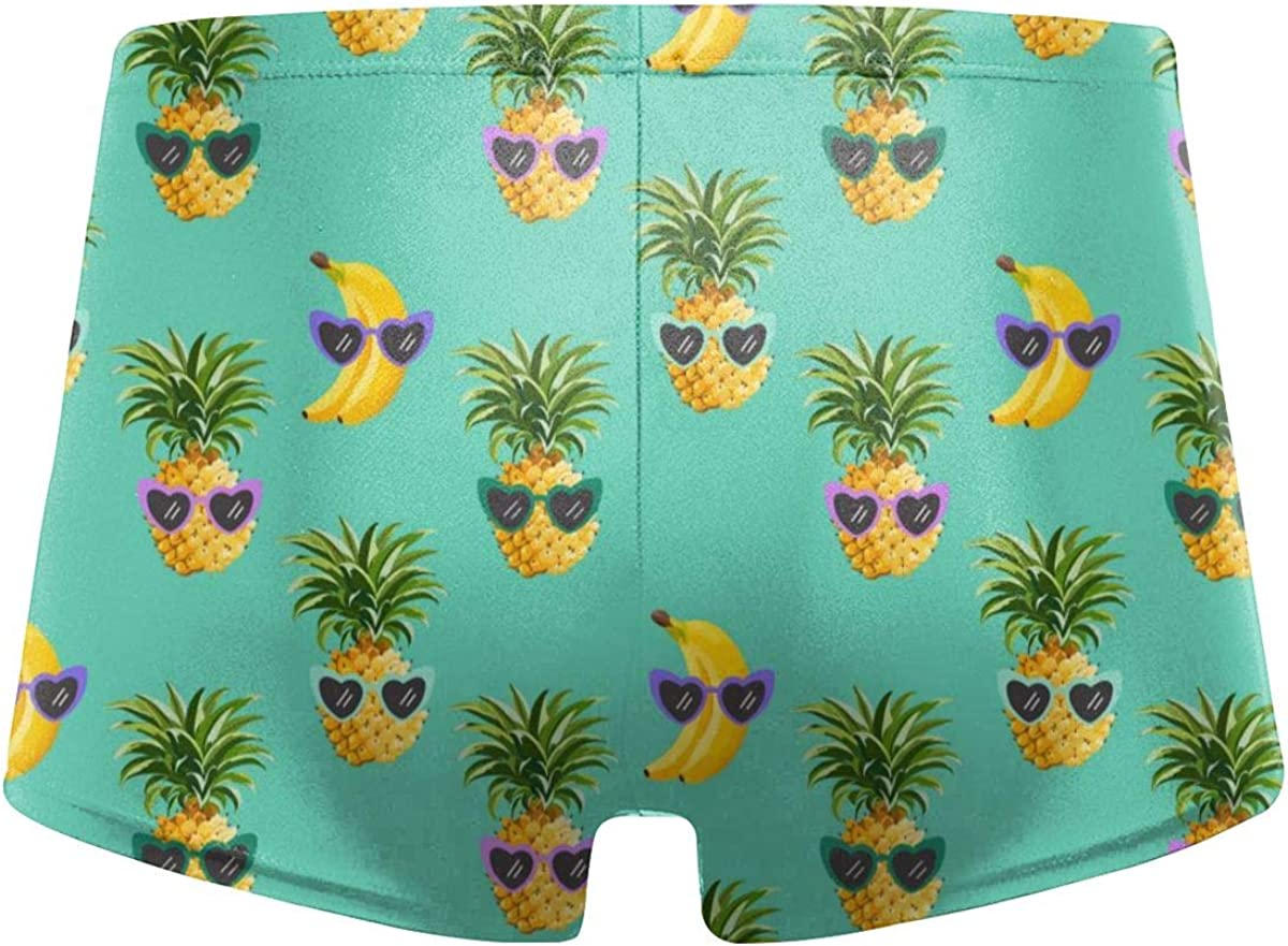DXTDCMMe Pineapple Banana Funny Glasses Men Swimwear Swimsuits Surf Board Boxer Shorts Trunks
