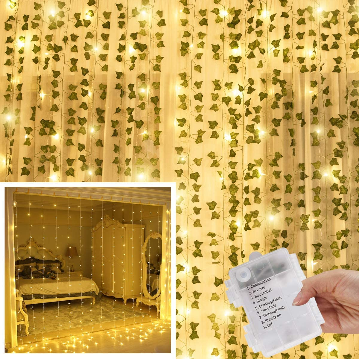 KASZOO 12 Pack Artificial Ivy Leaf Plants with 240 LED Window Curtain String Lights, Fake Plants Vine Hanging Garland, Hanging for Wall Party Wedding Room Home Kitchen Indoor & Outdoor Decoration