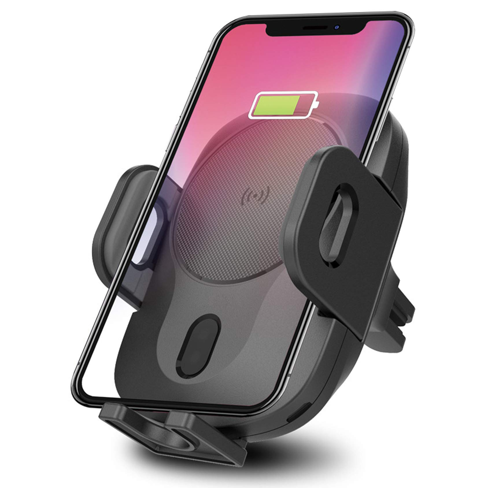 Nesolo 10W QI Wireless Car Charger, Car Mount with Air Vent Phone Holder, Fast Charge for Samsung Galaxy S9, S9 Plus, S8, S8 Plus,Note 8, Note 5, for iPhone X,XR,XS,MAX,8, 8 Plus (with Infrared) by Nesolo