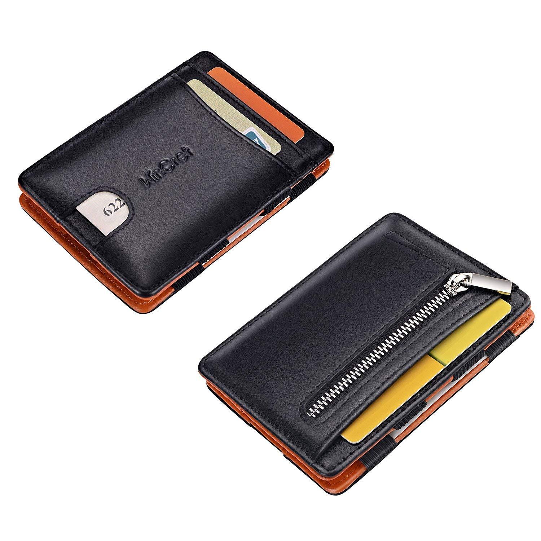 cb56733d491e9 WinCret Geldbeutel Männer Slim Magic Wallet - Leder Klein Geldbörse Herren  mit Reißverschluss-Münzfach - RFID-Schutz Kleines Portemonnaie Mini  Portmonaise ...