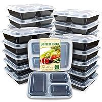 20-Pk Enther Meal Prep Container 3 Compartments w/Lids 36-Oz Deals