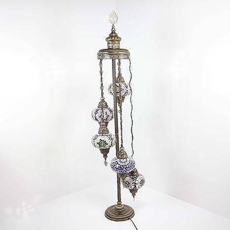 Lámparas de pie - Lámpara de pie de mosaico de globo turco ...
