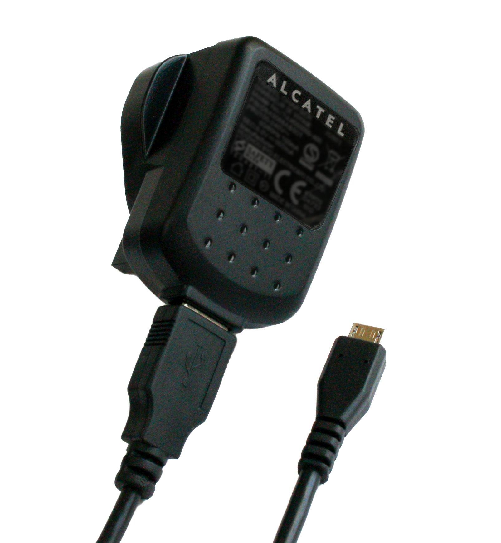 Genuine Alcatel Black 550 mAh 3 Pin Micro USB Mains Charger Suitable for Alcatel Pixi 2 , Pop D1 , Pop D3 , Pixi 3 ( 3.5 ) and Pixi 3 ( 4.0 )