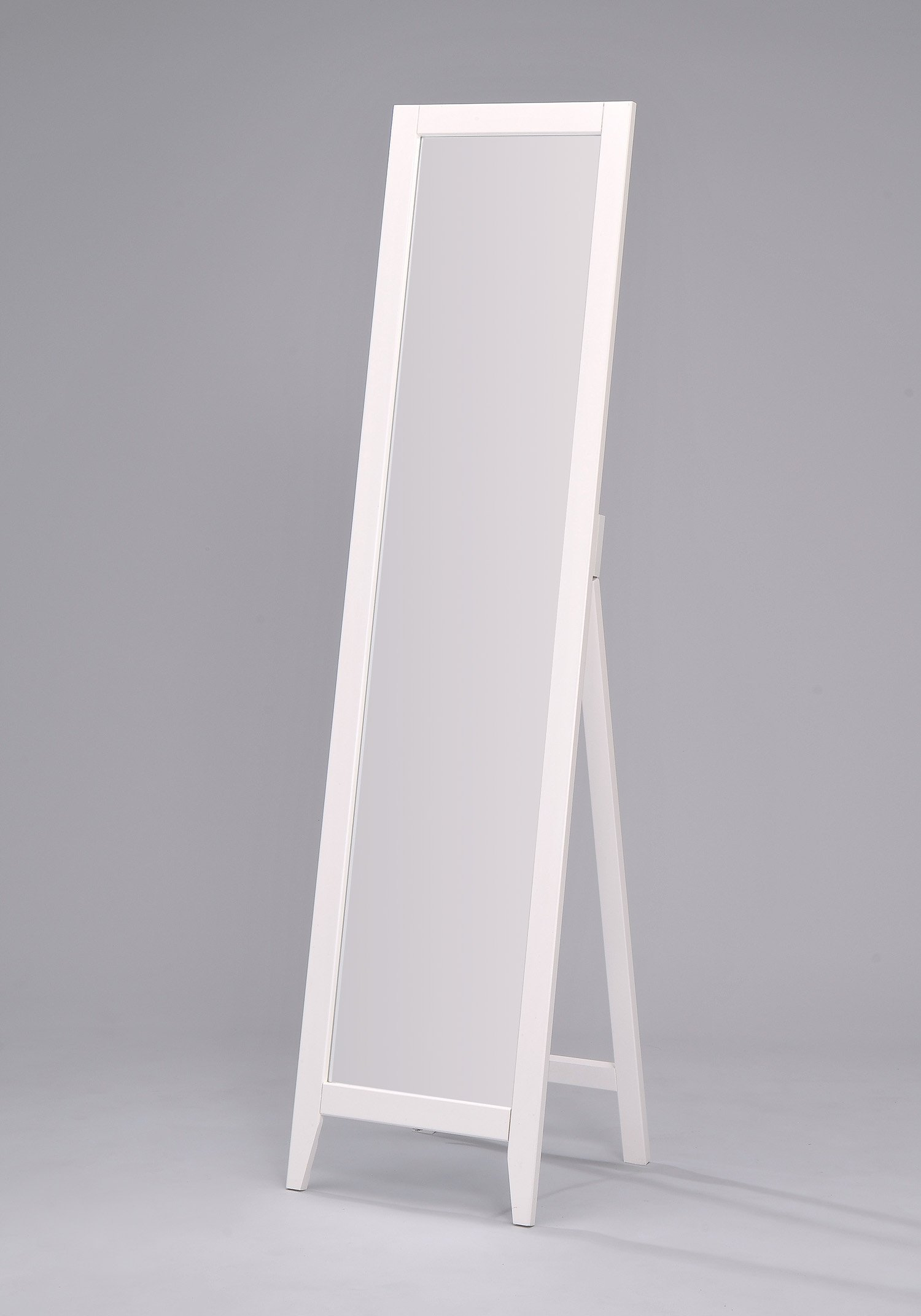King's Brand Furniture - White Finish Solid Wood Frame Free Standing Floor Mirror