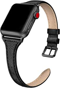 SWEES Leather Band Compatible for iWatch 38mm 40mm, Slim Thin Dressy Elegant Genuine Leather Strap Compatible iWatch Series 6, 5, 4, 3, 2, 1, SE, Sport & Edition Women, Black