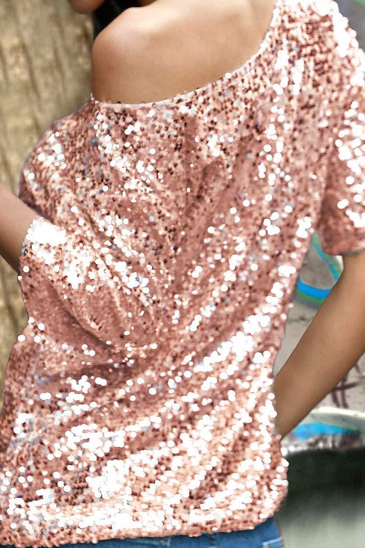 ec8c83f607cc9c Unomatch Women Slanting Shoulder Long Sleeve Sequin Top at Amazon Women s  Clothing store