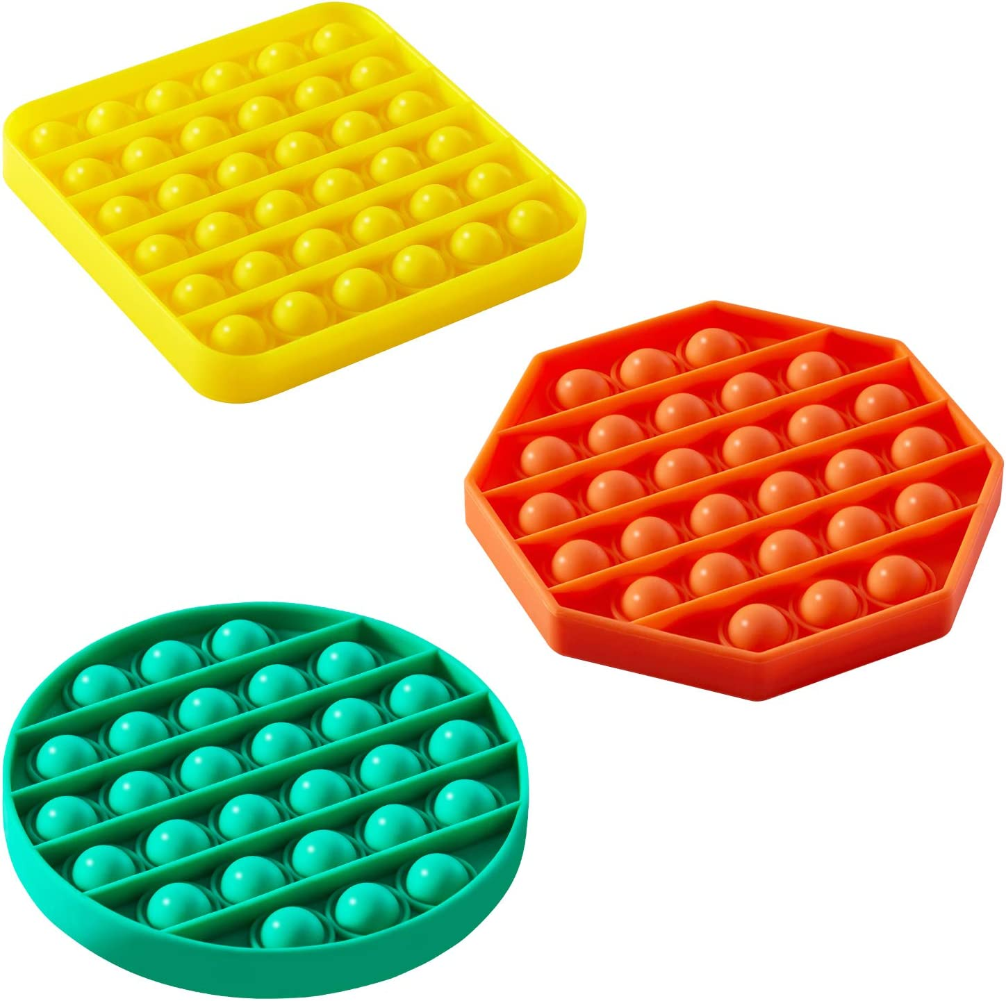 Kids and Friends Yellow+Green+Orange Silicone Stress Reliever Toy 3 Pack Push Pop Bubble Fidget Sensory Toy Squeeze Sensory Toy for Adults Autism Special Needs Stress Reliever Toy