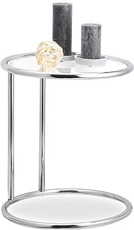 Relaxdays Zilveren Ronde Bijzettafel Metalen Frame Glasplaat Woonkamertafel Decoratie Designer Tafel H X D 53 X 45 Cm Standaard Amazon Nl