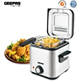 Geepas Deep Fat Fryer 1.5L   Stainless Steel Housing with Cool Touch Handle   Enamel Inner Pot with Viewing Window   Temperature Control with Overheating Protection   900W - 2 Years Warranty