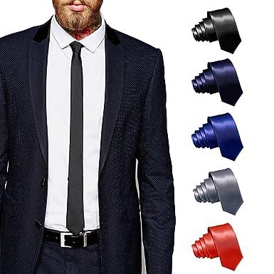 ShopLuvOnline Combo Set of 5 Slim Men\u0027s Tie, Necktie For Him Birthday B\u0027day  Gift, Black tie, Grey Tie, Navy Blue Tie, Royal Blue Tie \u0026 Red Tie