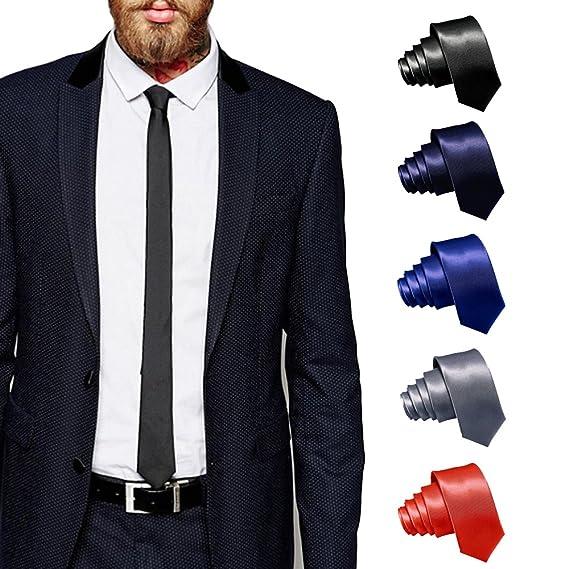 2d088e458820 ShopLuvOnline Combo Set of 5 Slim Men's Tie, Necktie For Him Birthday B'day  Gift, Black tie, Grey Tie, Navy Blue Tie, Royal Blue Tie & Red Tie:  Amazon.in: ...