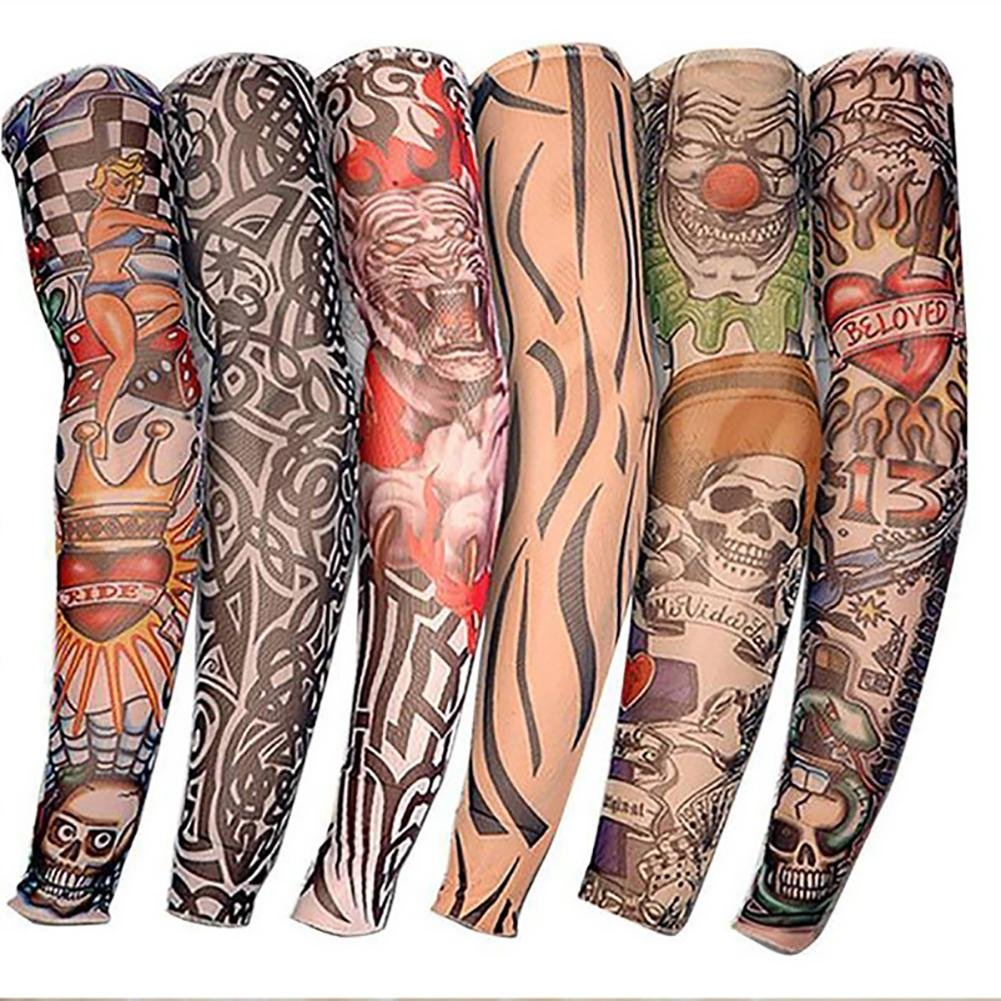 6 Stück Arm Sleeves Ärmlinge Kompression Bandage Rutschfest Anti UV Running Radsport für Damen Herren 无