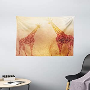 "Ambesonne Safari Tapestry, Illustration Tropic Giraffes Tallest Neck Animal Mammal in Retro Vintage Print, Wide Wall Hanging for Bedroom Living Room Dorm, 60"" X 40"", Orange"