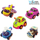 JVM Unbreakable Set of 5 Friction Powered Automobile 2 Car, Helicopter, Plane, Train Toys for Kids
