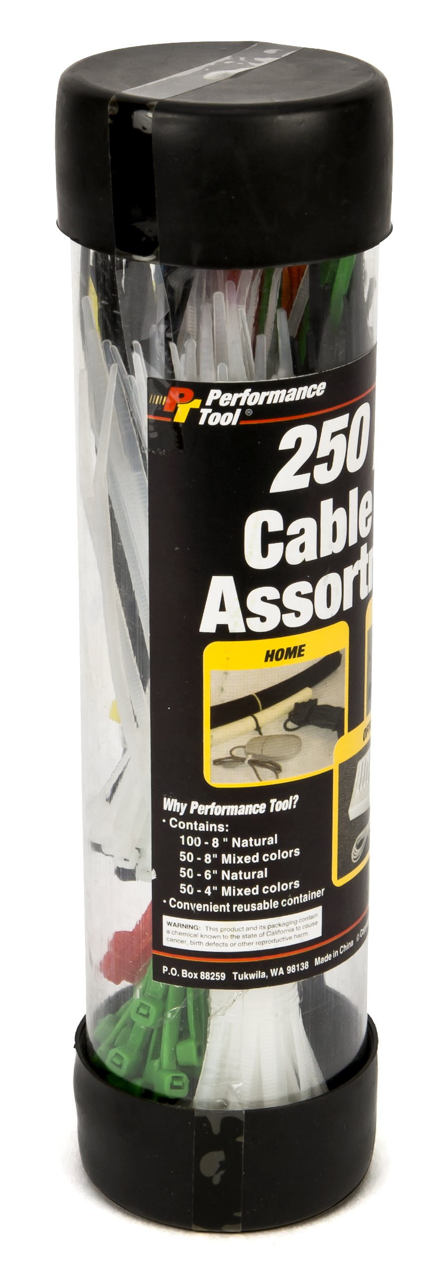 Performance Tool W2918 250pc Varying Colors and Lengths Cable Ties Pack