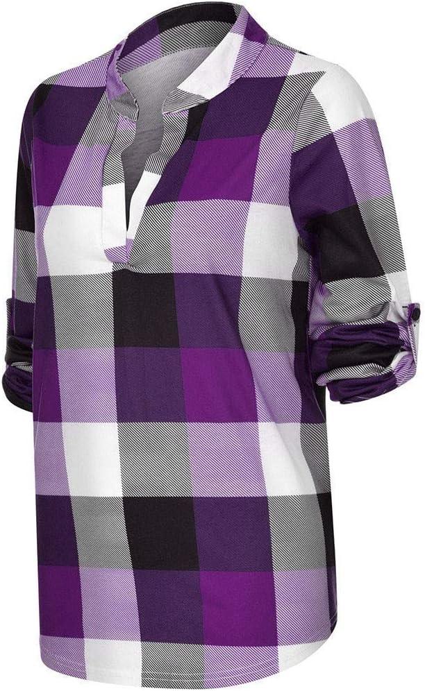 Sunnyuk - Blusa de Mujer a Cuadros, Camiseta, Escote en V ...