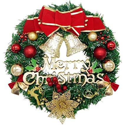 christmas wreath dadiii merry christmas garland ornament decorations with bowknot bells red berries