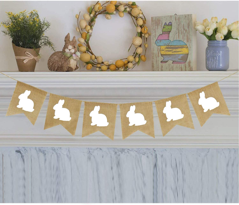 Rabbit Burlap Garland | Bunny Burlap Garland | Rustic Easter Decorations | White Rabbits Banner