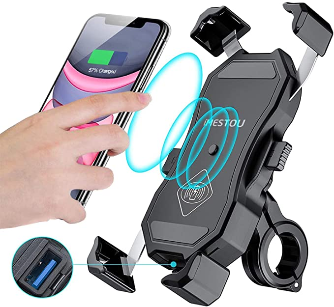 LEXIN Motorcycle Wireless Charger 10W Qi//USB 3.0 Quick Charge Handlebar Mount for iPhone//Andriod Waterproof Phone Charger for Motorcycle Designed for RAM X-Grip