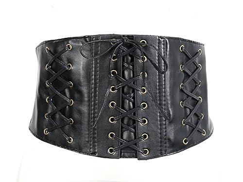 Simplee Apparel Mujeres de cuero hebilla de cinturón de encaje corse cincher de cintura elastica