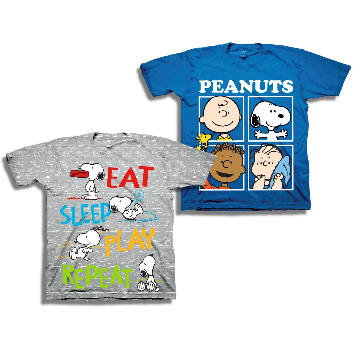 Peanuts Toddler Boys Snoopy Shirt - 2 Pack of Classic Tees - Snoopy, Linus, Woodstock, and Charlie Brown (Grey/Royal, 2T)