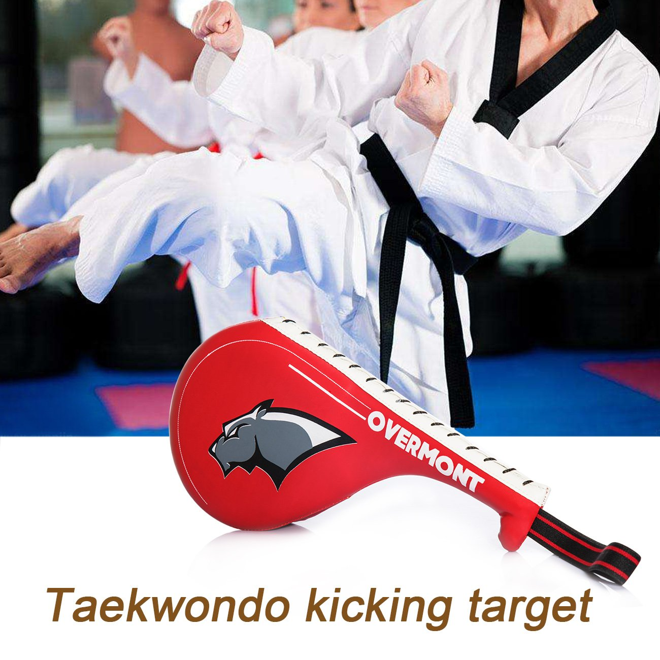 Overmont Double Kicking Target Taekwondo Kick Pads TKD Training Karate Kickboxing judo Practice MMA Muay Thai Martial Arts black//red