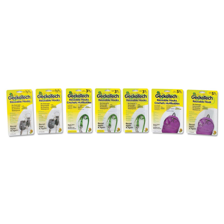 - GeckoTech Reusable Hooks, Plastic, 1/2 lb, 3 lb, 5 lb Capacity, Clear, 16 Hooks