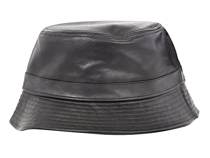 1f70c176d9a TOP HEADWEAR PU Leather Bucket Hat - Black at Amazon Men s Clothing ...