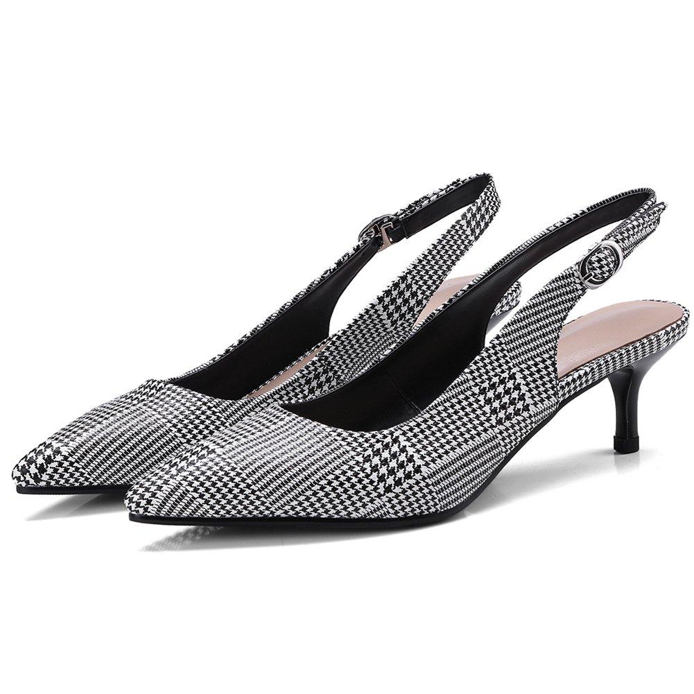 DoraTasia Womens Suede Pointed Toe Slingback Pumps Ankle Strap Kitten Low Heels Dress Pumps