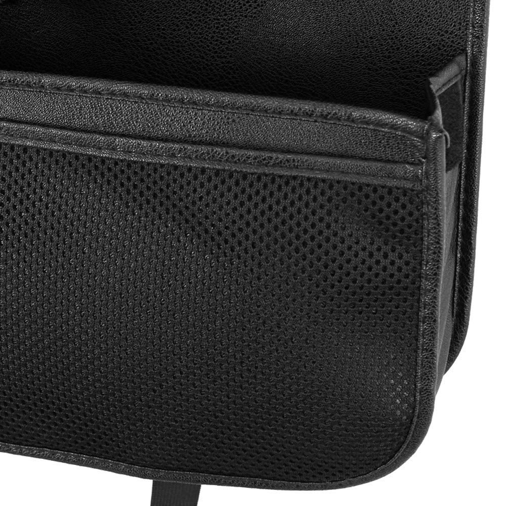 Black Carridar Leather Car Seat Back Organizer with 4 USB Port Multi-Functional Tablet Umbrella Holder Tissue Box Rear Seat Charger Anti-Kick Travel Backrest Storage Bags