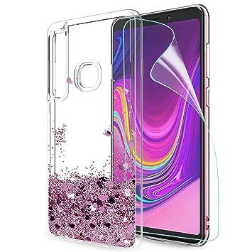 LeYi Compatible with Funda Samsung Galaxy A9 2018 / Galaxy A9 Star Pro Silicona Purpurina Carcasa con HD Protectores de Pantalla,Transparente Fundas ...