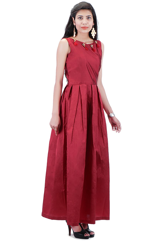 860d56b111dc42 TRASS Maroon Taffeta Umbrella Design Round Neck Sleeveless Gown