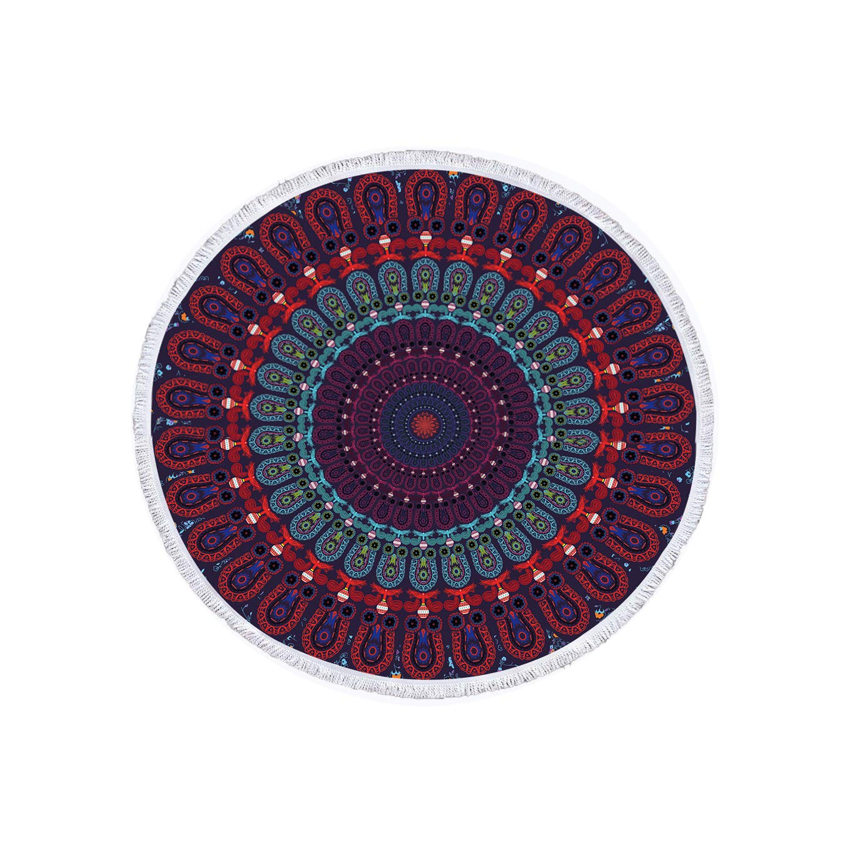 Jiahongsheng Bohemian Thick Beach Towel Indian Round Mandala Yoga Mat Tapestry 60 inch Diameter (Bohemian-Captivation)