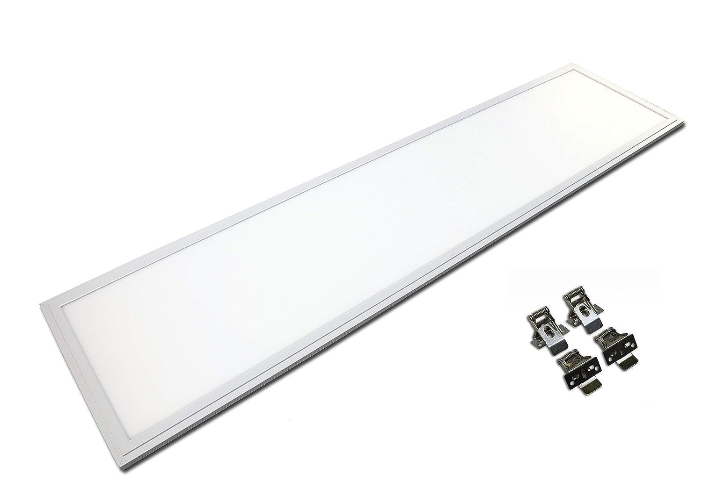 TXL© LED Panel 120x30cm 40 Watt wasserdicht IP65 silberoxid auch für Außenbereich (Neutralweiß 4000K, Mit Federclips)