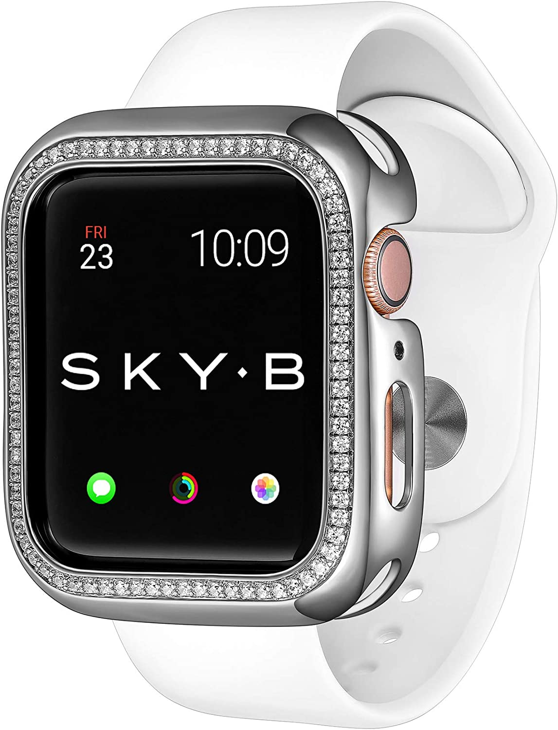 SKYB Halo Protective Jewelry Case for Apple Watch Series 1, 2, 3, 4, 5, 6, SE Devices - Silver Color for 44mm Apple Watch