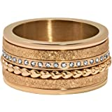 Quiges Rose Gold Stainless Steel Cubic Zirconia Multi Colour Stackable Ring Set with 4 Inner Rings and 1 Base Ring Set