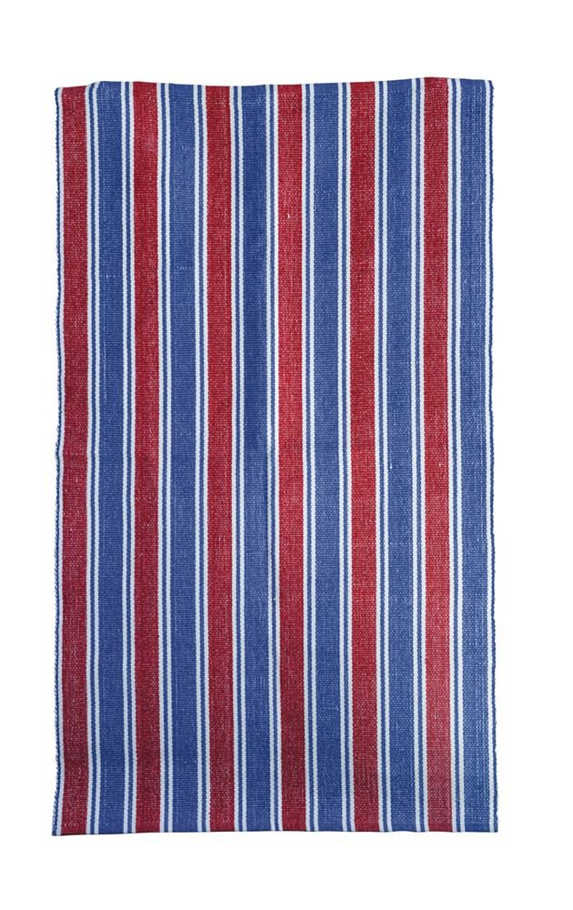 Heart of America Cotton Striped Rug Red Blue