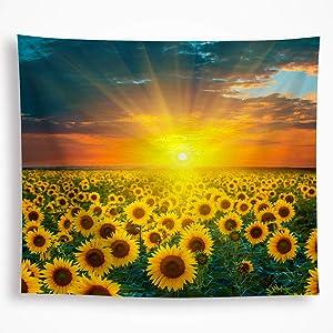 Autumn Fall Sunflower Tapestry Wall Hanging Golden Yellow Sunset Flower Ocean under the Sunshine Nature Scene Picture Wall Art Decor Blanket for Bedroom Livingroom Dorm 59x82.6 Inch