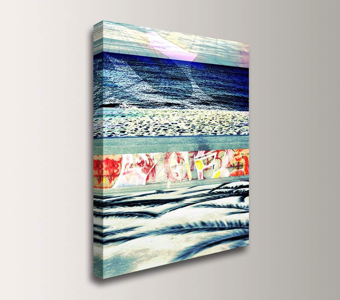 Coastal Abstract Modern Canvas Wall Art -''Boardwalk Blue''