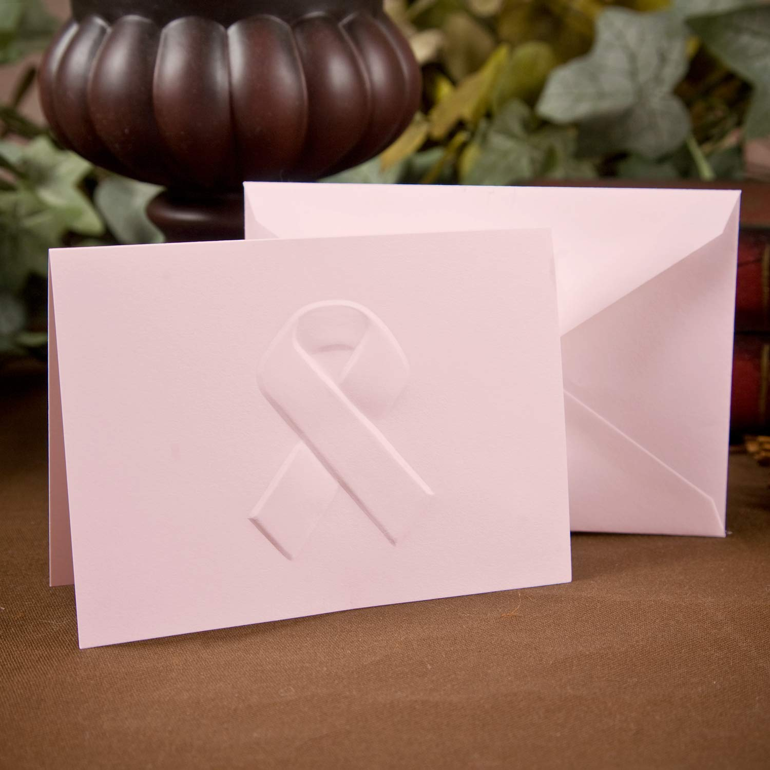 700pk Pink Awareness Ribbon - Note Card and Envelope-Personal Stationery