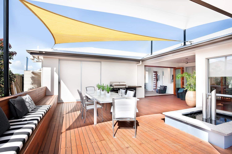Sunnylaxx Vela de Sombra Triangular 5 x 5 x 5 Metros, toldo Resistente e Impermeable, para Exteriores, jardín, Color Arena: Amazon.es: Jardín
