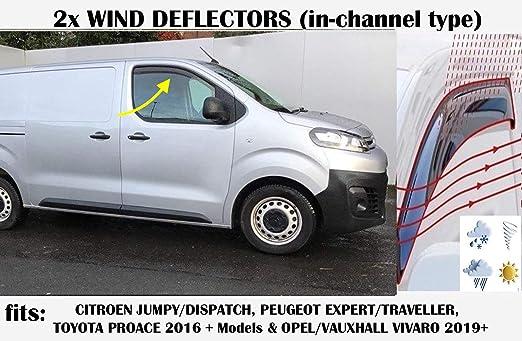 Oemm Windabweiser Im Kanal Kompatibel Mit Citroen Dispatch Jumpy Peugeot Expert Traveller Van Kleinbus 2016 2017 2018 2019 2020 Seitenvisiere Fensterabweiser Auto