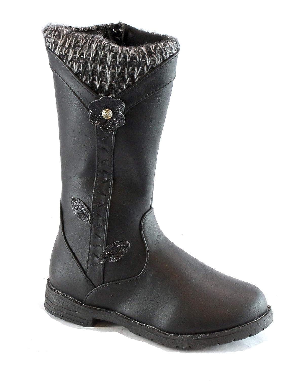 Bambi Girls Black Flower Knit Side Zipper Boots 10-4 Kids
