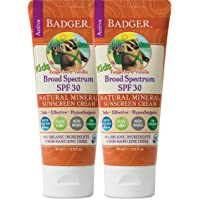 Badger - SPF 30 Kids Sunscreen Cream with Zinc Oxide for Face and Body, Broad Spectrum & Water Resistant Reef Safe…