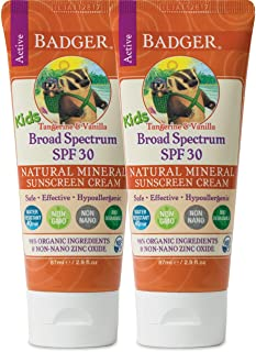 product image for Badger - SPF 30 Kids Sunscreen Cream with Zinc Oxide for Face and Body, Broad Spectrum & Water Resistant Reef Safe Sunscreen, Natural Mineral Sunscreen with Organic Ingredients 2.9 fl oz (2 pack)