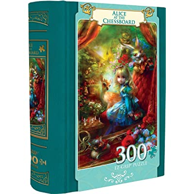 MasterPieces EZGrip Alice in Wonderland Collectible Book Box, Extra Large Jigsaw Puzzle, Alice at The Chessboard, 300 Pieces, for Ages 9+: Toys & Games