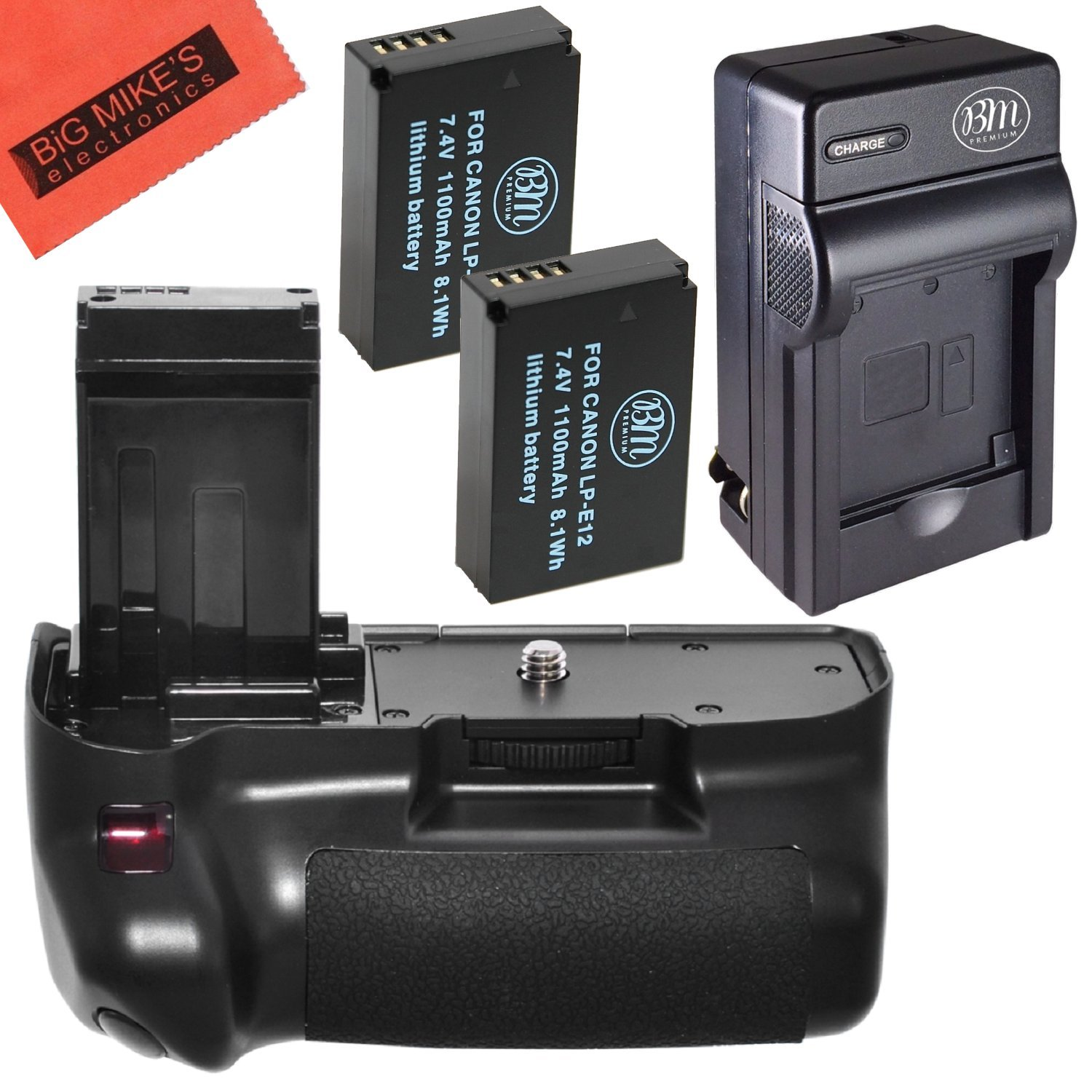 Battery Grip Kit for Canon Rebel SL1 EOS 100D Digital SLR Camera Includes Vertical Battery Grip + Qty 2 Replacement LP-E12 Batteries + Battery Charger by Big Mike's
