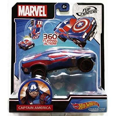 Hot Wheels Character Cars - Flip Fighters - Captain America: Toys & Games [5Bkhe0303712]