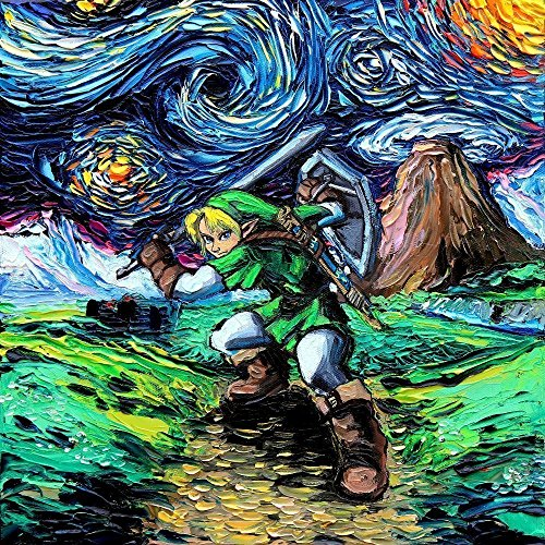 Legend of Zelda – Link – Video Game Art – PRINT – Nintendo – van Gogh Never Saw Hyrule – Art by Aja 8×8, 10×10, 12×12, 20×20, 24×24 inches